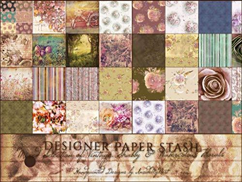 (Vintage Designer Paper Stash Art Craft Shabby Cottage Chic Scrapbook Journal Origami Paper Party Decorations (A5-100 Piece Bumper Pack))