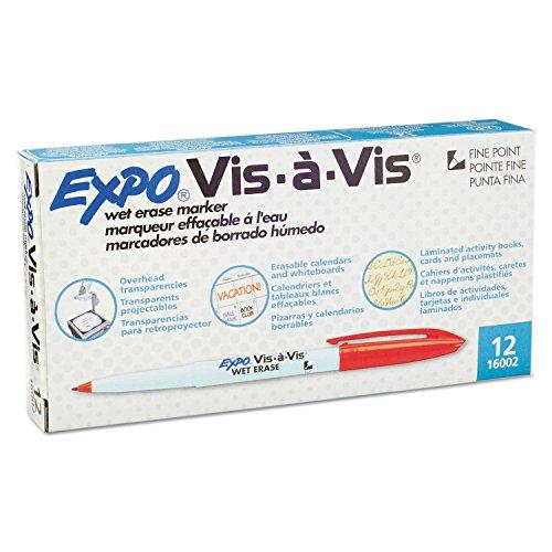 expo-vis-a-vis-wet-erase-overhead-transparency-marker-fine-point-red-ink-dozen
