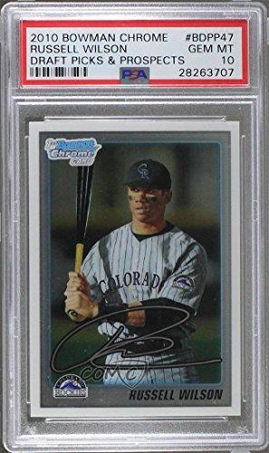 Russell Wilson Graded PSA 10 GEM MT (Baseball Card) 2010 Bowman Draft Picks & Prospects - Chrome Draft Picks #BDPP47