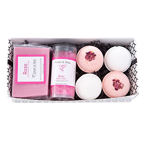 Bath / Spa Gift Set | Natural Handmade Rose Soap Bar, Rose Scented Dead Sea Bath Salts, 4 Fizzy Bath Bombs (2 Each, Rose & Gardenia) | Gift Boxed | Made in the USA by Tatum & Shea