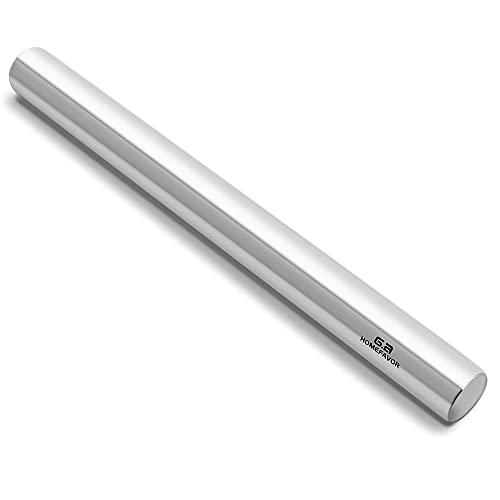 GA Homefavor 40 cm Stainless Steel Rolling Pin, Professional Dough Roller for Baker, Pastry, Cookies, Pizza