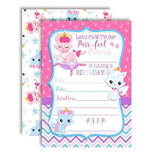 "Princess Kitty Cat Birthday Party Invitations for Girls, 20 5""x7"" Fill in Cards with Twenty White Envelopes by AmandaCreation"