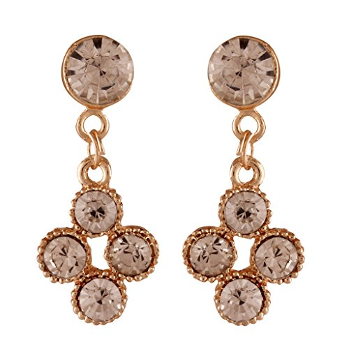 I Jewels Traditional Gold Plated Stone Earrings for Women JC009W (White)