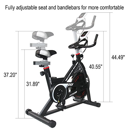 NexHT Fitness Exercise Cycle Bike, Indoor Spin Workout Cycling Bike with LCD Monitor& Heart Pulse Sensors,Max User Weight:280lbs,Full Adjustable Health Sport Trainer Stationary Bicycle.