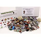 ROCK & MINERAL COLLECTION Kit with 2 Easy Break Geodes Activity KIt with Over 150+PCS Comes with Identification Sheet EDUCATIONAL DISCOVERY TREASURE KIT SORT, FIND, IDENTIFY Dancing Bear Brand