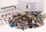 Rock & Mineral Collection Activity Kit (Over 150 Pcs) with Educational Identification Sheet plus 2 Easy Break Geodes, Fossilized Shark Teeth and Arrowheads, Dancing Bear Brand