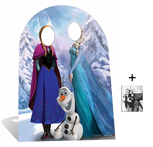 Fan Pack - Child Size Anna and Elsa with Olaf from Frozen Disney Cardboard Stand-in Cutout / Standee - Includes 8x10 (20x25cm) Photo -