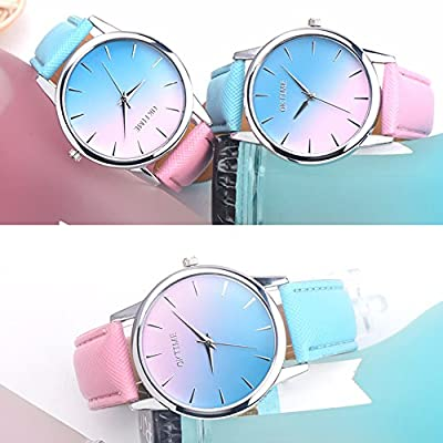 WM&MW Fashion Women Girls Watches Ombre Design Leather Band Analog Alloy Quartz Wrist Watch