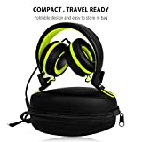 SIMILK - Headphones products,Travel, Work, Kids, Teens, Running Sport, Foldable Stereo Tangle-Free 3.5mm Jack Wired Cord On-Ear Headset for Children 8-15 years old (Black/Green)