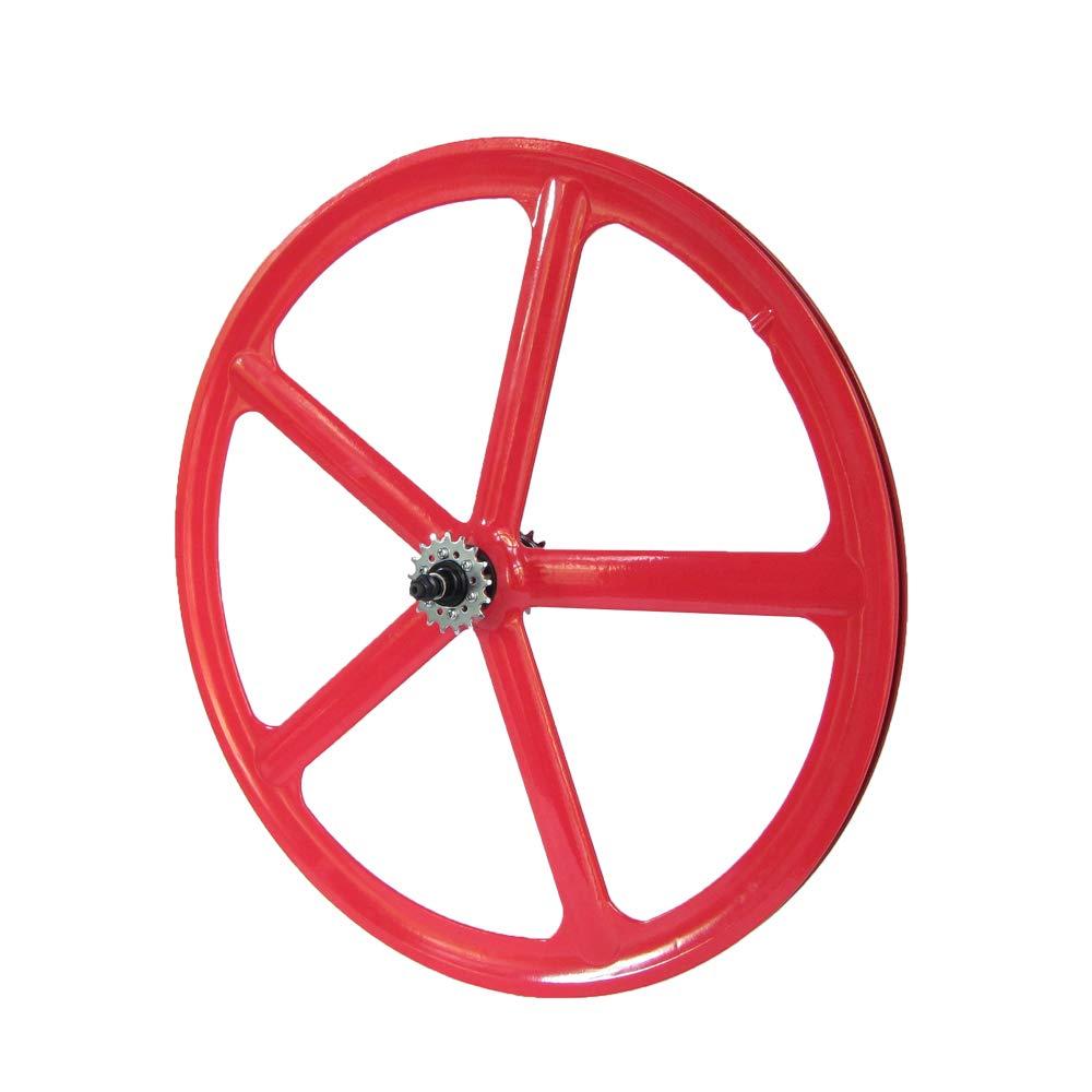 Laufradsatz Singlespeed Fixie 700C 28 Hinterrad mit Freilaufritzel – Leichtmetall - 5 Speichen – Rot