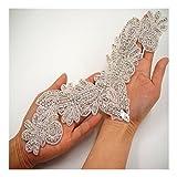 Queendream Rhinestone and Pearl Bridal Beaded Applique Size:30cm x12cm