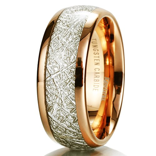 King Will Mens 8mm Domed 14k Gold Tungsten Carbide Ring Meteorite Inlay Wedding Band(10)
