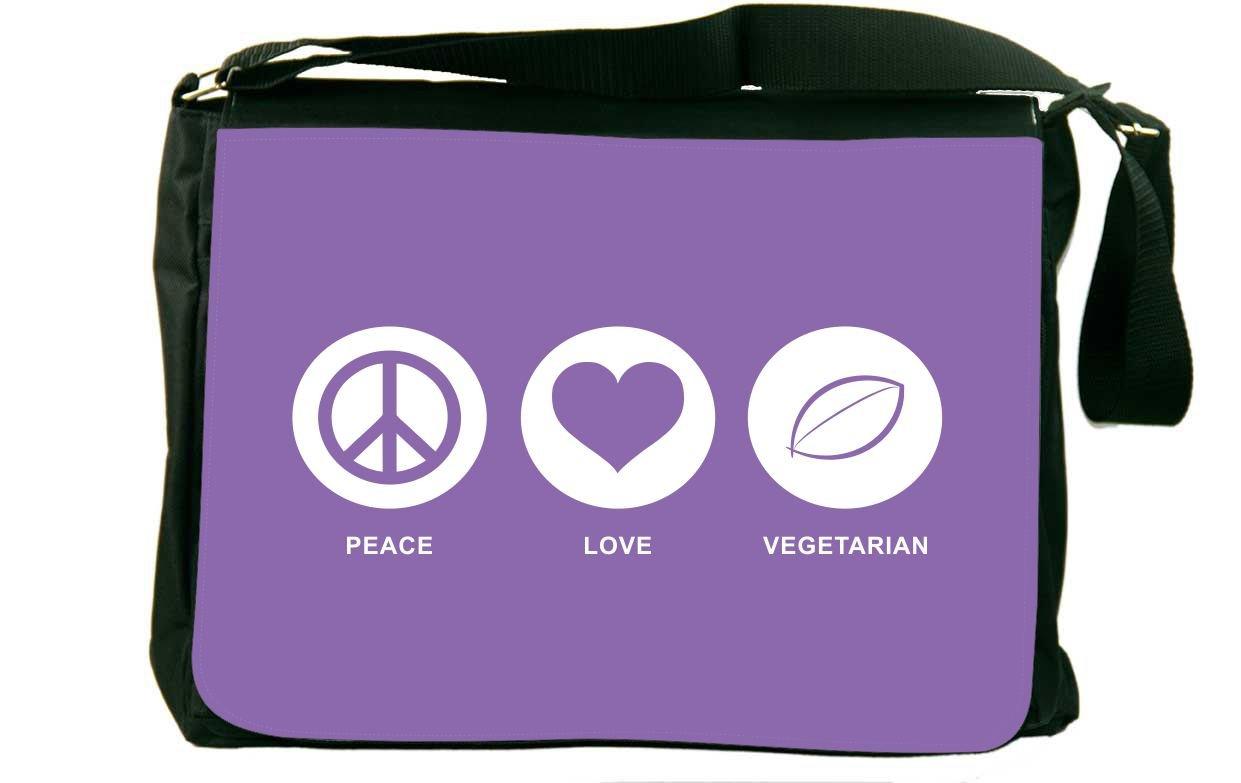 Rikki Knight Peace Love Vegetarian Violet Color Messenger Bag School Bag
