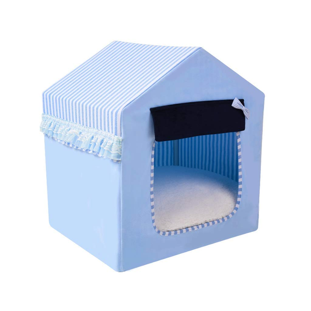 bluee Medium bluee Medium Pet Bed Kennel Cat Litter Removable and Washable Closed Dog House Small Dog Pet Nest Winter Day Warm 4 Seasons Universal (color   bluee, Size   Medium)