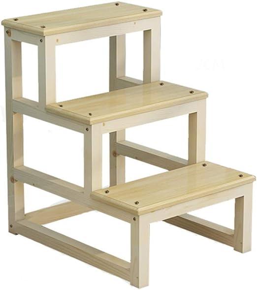 OhLt-j Cocina de taburetes, Escalera de taburetes Escalera de escalada de doble uso Escalera de dos pasos Escalera de escalada for pies con bastidor incorporado Escalera de madera maciza (Color: Beige: Amazon.es: