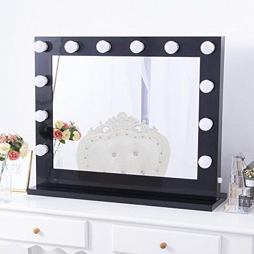 Chende Black Hollywood Lighted Makeup Vanity Mirror Light