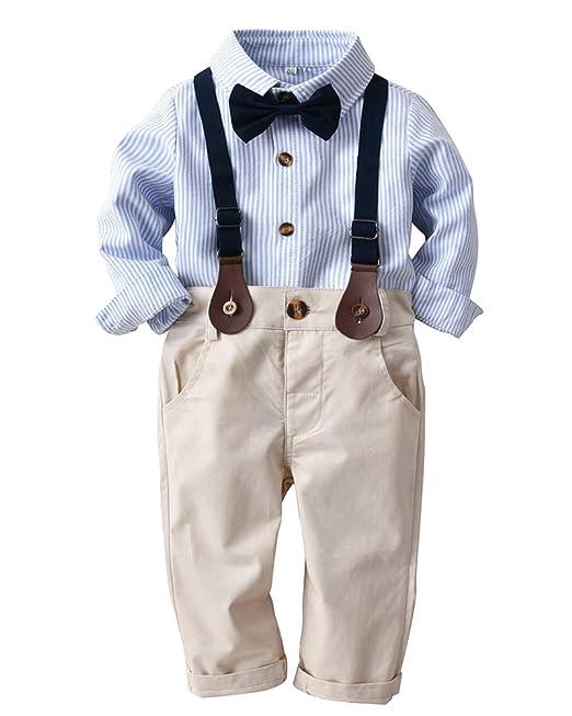 Conjuntos para Niños Manga Largas Camisa + Pantalones + Bowknot ...