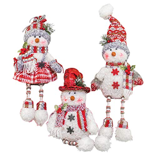 Hanna's Handiworks Crimson Snowman Button Dangle Leg 7 x 16 Inch Plush Christmas Figurines Assorted Set of 3 ()