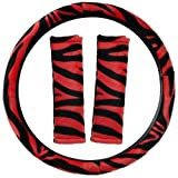 OxGord Velour Zebra Print Steering Wheel Cover, Red