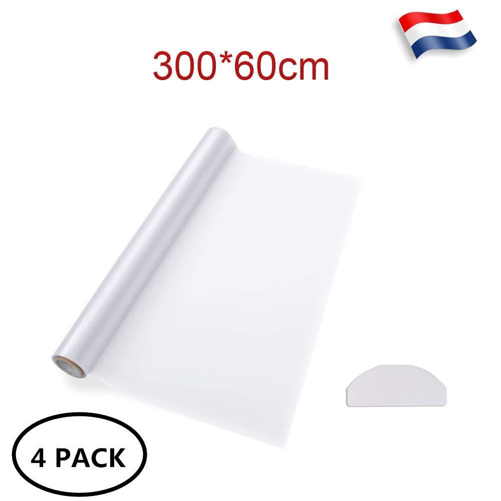 60cm Intimit/é Anti-UV Occultant Opaque Film Fenetre Vitrage Salle Sinbide Film Fenetre D/époli 300 Lot de 4