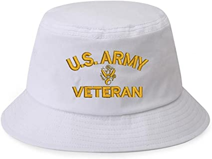100/% Cotton Military White Bucket Cap Hat U.S US ARMY TEXT