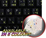 FRENCH AZERTY KEYBOARD STICKER WITH YELLOW LETTERING ON TRANSPARENT BACKGROUND FOR DESKTOP, LAPTOP AND NOTEBOOK
