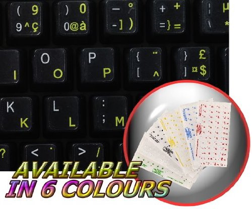 FRENCH AZERTY KEYBOARD STICKERS WITH YELLOW LETTERING ON TRANSPARENT BACKGROUND FOR DESKTOP, LAPTOP AND NOTEBOOK