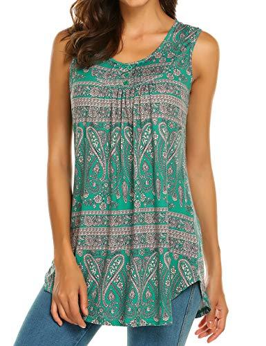 (Halife Women's Paisley Printed Pleated Sleeveless Blouse Shirt Casual Flare Tunic Tank Top (S, Dark Green))