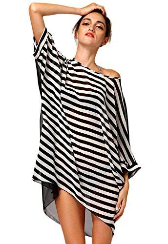 New nero & bianco a righe oversize insabbiamento Beachwear Swimsuit Swimwear estate taglia unica