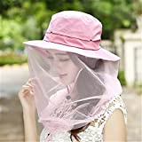 WENDYWU Camouflage Beekeeping Beekeeper Anti-mosquito Bee Bug Insect Fly Mask Cap Hat with Head Net Mesh Face Protection Outdoor Fishing Equipment (Pink) Review