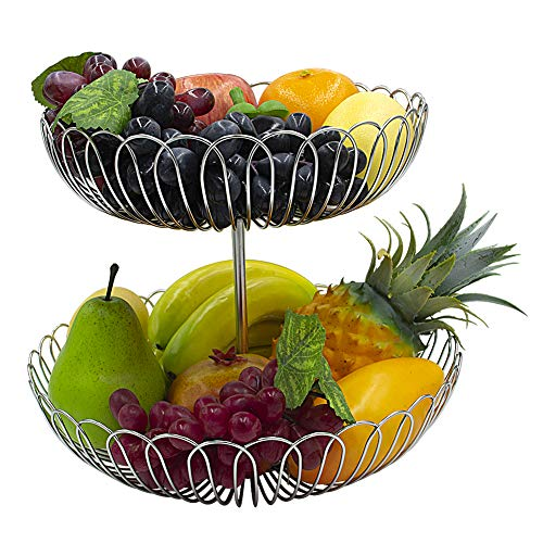 Stainless Steel 2 Tier Wire Fruit Basket Bowl for Kitchen Counter Stand with Bread by Lanejoy (Image #2)