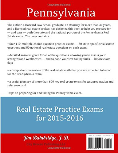 Pennsylvania Real Estate Practice Exams for 2015-2016: State