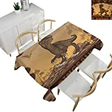 "Fantasy,Rectangular Table Cloth Giant Dinosaur on Cliffs Cave Wild Fossil Jurassic Archaic Animal Illustration Tablecloths for Sale Apricot Redwood 54""x 72"" -  familytaste"