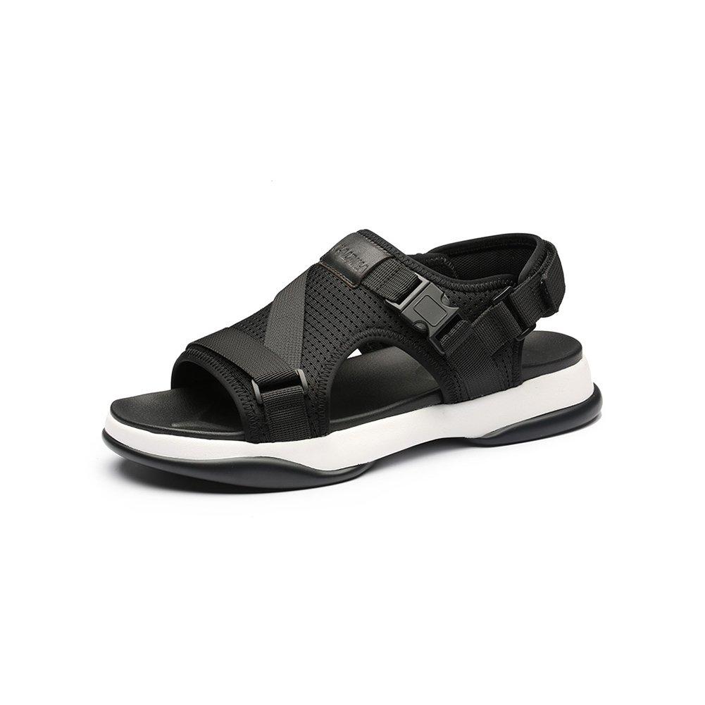 WYYY Calzado De Hombre Sandalias Temporada De Verano Doble Uso Fondo Suave Punta Abierta Transpirable Malla Sandalias Exterior Zapatos De Playa Zapatos Casuales Sandalias De Playa EU39/UK6 Negro