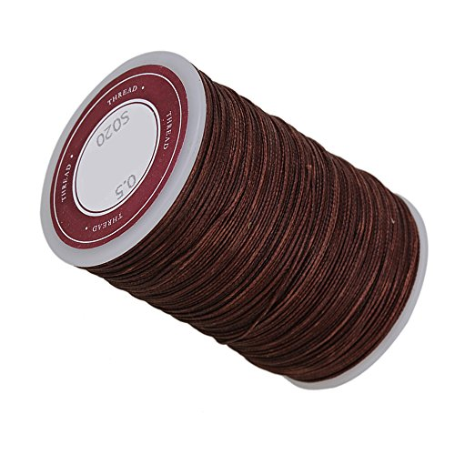 Waxed Polyester (CNBTR 120m Brown 0.5mm Dia Polyester Leather Sewing Round Waxed Thread Cord for DIY Handicrafts)