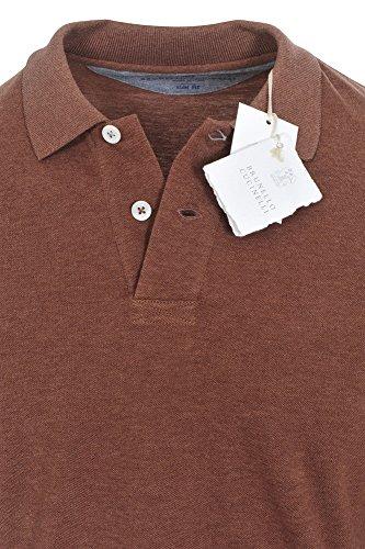 Brunello Cucinelli Polo Poloshirt Herren Braun Slim Fit Baumwolle Casual XS