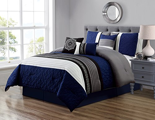 (GrandLinen 7 Piece Navy Blue/Grey/Black/White Scroll Embroidery Bed in A Bag Microfiber Comforter Set (Double) Full Size Bedding. Perfect for Any Bed Room or Guest Room)