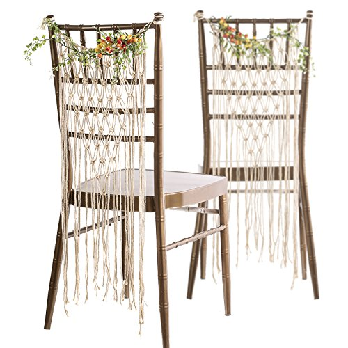 Ling's moment Bohemian Bride and Groom Chair Back, Wedding Chair Hanger, Macrame...