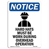 OSHA Notice Sign - Hard Hats Must Be Sign with Symbol   Choose from: Aluminum, Rigid Plastic or Vinyl Label Decal   Protect Your Business, Construction Site, Warehouse   Made in The USA