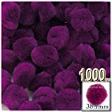 The Crafts Outlet 1,000-Piece Multi purpose Pom Poms, Acrylic, 38mm/about 1.5-inch, round, Fuchsia