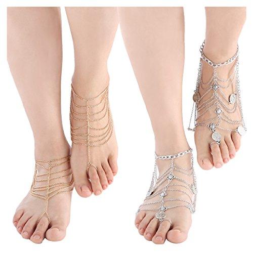 kilofly 2 Pairs Foot Jewelry Barefoot Sandal Beach Wedding Anklet Bracelet Set ()