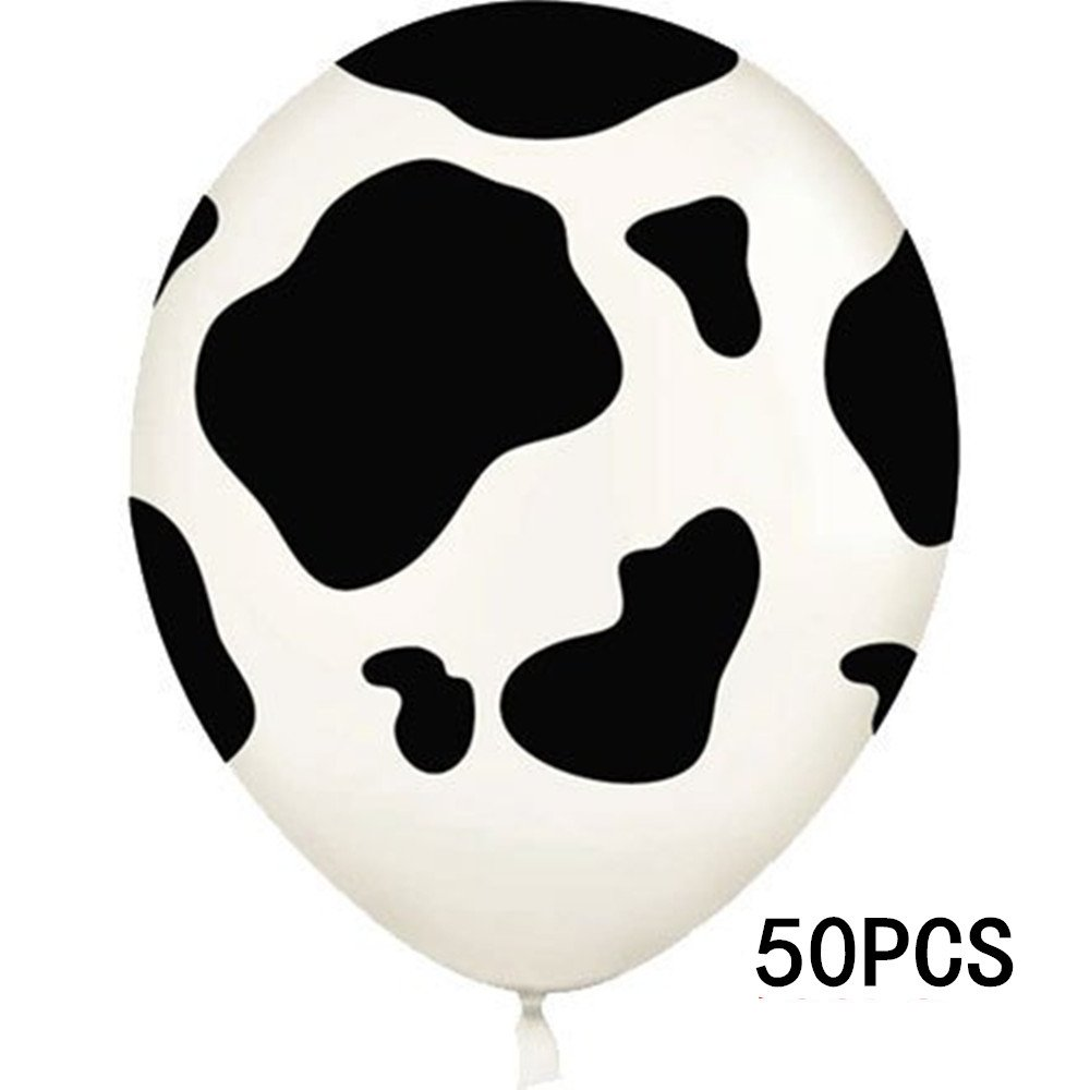 WISWIS 50PCS Farm Animal Childrens Birthday Party Supplies Cow Print Latex Balloon Latex Balloons for Parties, Birthdays, and Events