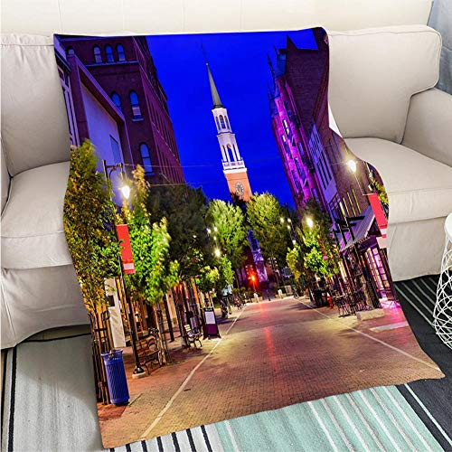 Luxury Super Soft Blanket Church Street in Burlington Vermont Perfect for Couch Sofa or Bed Cool Quilt (Church Street Burlington)