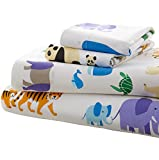 Wildkin Full Sheet Set, 100% Cotton Full Sheet Set with Top Sheet, Fitted Sheet, and Two Pillow Cases, Bold Patterns Coordinate with Other Room Décor, Olive Kids Design – Endangered Animals