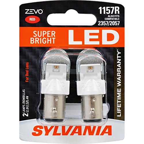SYLVANIA - 1157 ZEVO LED Red Bulb - Bright LED Bulb, Ideal for Stop and Tail Lights (Contains 2 - Bright Red Bulb Led Replacement