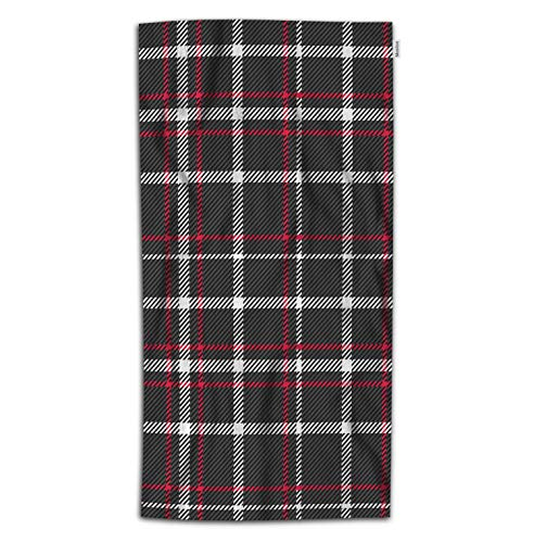 - Moslion Plaid Bath Towel Red Black White Tartan Buffalo Check Checkered Gingham Towel Soft Microfiber Baby Hand Beach Towel for Kids Bathroom 32x64 Inch