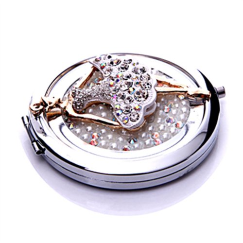 Smile Mirror Cosmetic Dancing Lady Orchids circle cute pocket tools makeup