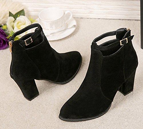 Buckle Heels Ankle Warm Women Black Boots Shoes Ladies Faux Belt Martin Lenfesh High Boots Zip nU5vx4n