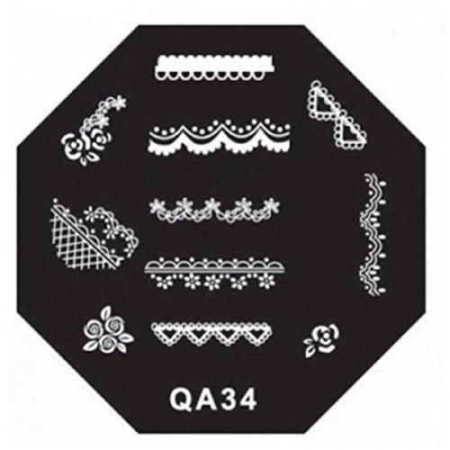 Manicure Stamping Stamp Nail Art Plates QA Series Type Code QA34 (Vetro Series)