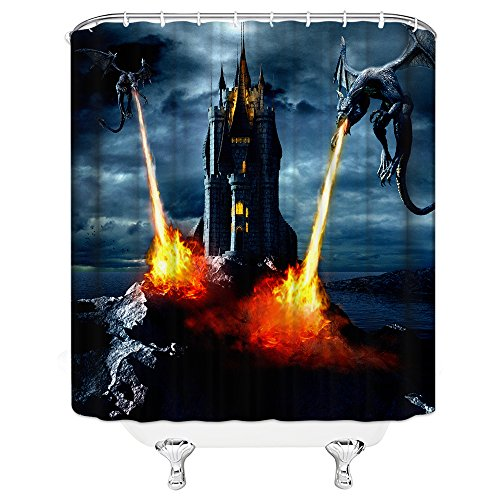 AMHNF Dragon Shower Curtain Vintage Castle Demon Fantasy Fire Breathing Black Deep Blue Sky Shower Curtains 70x70 Inch Home Waterproof Hanging Curtains